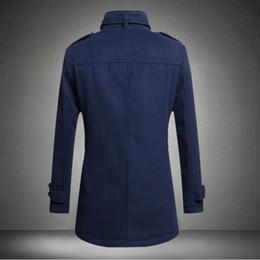 Wholesale Epaulette Jackets Collar - Fall-2015 new casual fashion men standing collar epaulette woolen windbreaker jacket male wind 4-color 4size: M-2XL