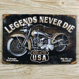 "Wholesale Art Legend - Wholesale- Metal Wall art decoration Metal Tin signs ""Legends never die"" moto house Cafe Bar vintage painting plate Free ship 20*30 CM"