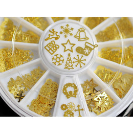 Wholesale Golden Metal Nail Art - Mixed Style Christmas Nail Art 3D Slice Golden Metal Nail Art Decoration 2 Wheel