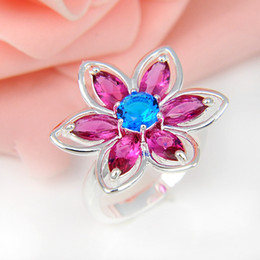 Wholesale Sterling Silver Wholesale Mexico - Top Quality 5pcs lot Flower Ruby Kunzite Blue Topaz Gems 925 Sterling Silver Flower Ring Mexico American Australia Weddings Jewelry Gift