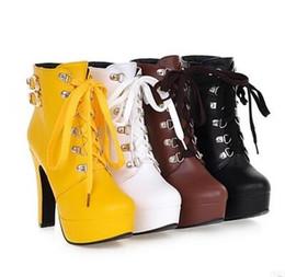 Wholesale Korean Knee High Boots Fashion - Autumn Winter England New Woman High heel Korean version Rough with Lace Waterproof platform Martin boots
