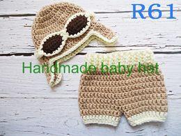 Wholesale Crochet Diapers - Wholesale-Free shipping Crochet Baby khaki aviator caps with Diaper cover,handmade pilot hat,shorts baby Set Newborn Photo Prop NB-3M