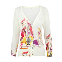 Wholesale Short Gilet - Wholesale- SexeMara Women 3D Floral Print White Sweater Screw Thread Knitted V-Neck Full Sleeve gilet femme manche longue Female Cardigan