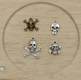 Wholesale Antique Bronze Skull Charm - MIC 80pcs Antiqued Silver   Antique Bronze Skull Charms Pendants Jewelry DIY