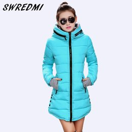 Wholesale Ladies Down Coat Medium - Wholesale- SWREDMI Women's Jacket Winter 2017 New Medium-Long Cotton Parka Plus Size Coat Slim Ladies Casual Clothing Hot Sale