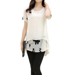 Wholesale Loose Fitting Chiffon Blouse - New Fashion Women Blouses Embroidery O Neck Short Sleeve Chiffon Blouse White Black Loose Fit Casual Tops Blusa Feminina
