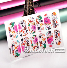 Wholesale Nail Stickers Sunflowers - Wholesale-Easy DIY Colorful Sunflowers Small Floral pattern Nail Art Sticker foil design nail stickers