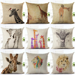 Wholesale Green House Sales - 45cm Fanshion Cotton Linen Fabric Throw Pillowcase Giraffe Lion Hot Sale 18 Inch New Home Coffee House Sofa Back Decor Cushion Cover