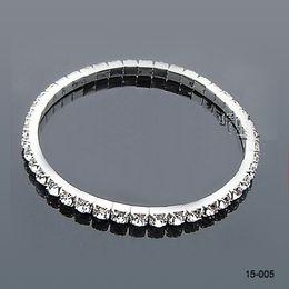 15005 Colorful Rhinestones Bridal Jewelry Pearls Bracelets bridal Wedding Accessories Silver Plated 3 Row Chain Style Wedding Bracelet 2018