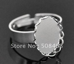 Wholesale Silver Tone Blank Rings - Ship Free ! 100pcs lot silver tone ring setting blank Ring Base 18*25mm pad