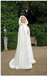 Wholesale White Bridal Winter Cloaks - Custom Made 2015 Hot Bridal Cape Ivory Stunning Wedding Cloaks Faux Fur Ankle Length Perfect For Winter Wedding Red White Bridal Cloaks