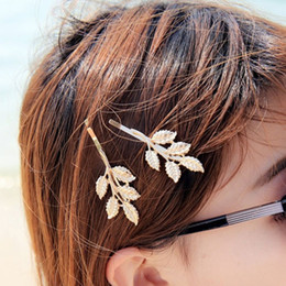 Wholesale Wedding Hair Side - Wholesale-1PCS Fashion Wedding Hair Accessories,gold plated Olive Branches Leaves Bride Hairpin Side Folder hair jewelry For Women