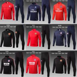 Wholesale Boys Suit Shorts - Atletico Madrid Koke Griezmann kids Kit 17-18 Boy soccer Jersey chandal football tracksuit Child jacket training suit pants sweater