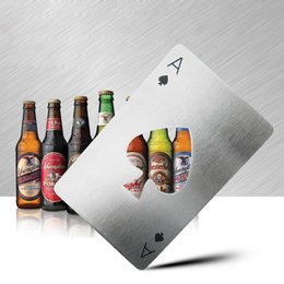 Wholesale quality spade - Cap Opener Poker Shape Playing Card Ace of Spades Bar Tool Creative Kitchen Usage Put Into Wallet Portable Opener High Quality DHL shipping