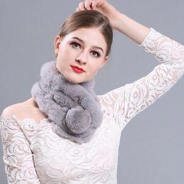 Wholesale White Scarf Balls - Womens 100% Real Rex Rabbit Fur Scarf Winter Warm Neck Wraps Ball Hand Knit