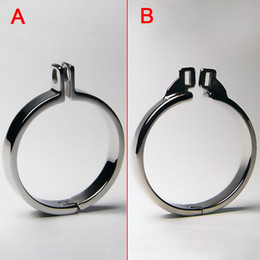 Wholesale Male Chastity Gear - Male Chastity Belt Cock Rings Metal Bondage Gear For Men Penis Ring For Cock Cage Stainless Steel BDSM Chastity Cage Adult Sex Toys