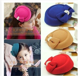 Wholesale Wholesale Animal Headgear - 10 Color 2014 New Arrival Korean Children Bowknot Cap Hair bands Girl Accessories Children Headgear G18C25