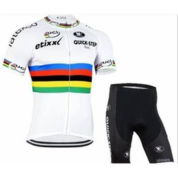 Wholesale Custom Cycling Jerseys - new stylefactory Pro team Quickstep white black factory cycling jersey and cycling shorts  custom cycling wear Free Shipping SIZE XS-4XL