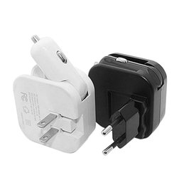Wholesale Iphone Compatible Charger - 2.4A 2-in-1 Dual Port USB Car Charger And Home Wall AC Chargers With Foldable Plug ,Portable Palm Size,Compatible With Samsung Galaxy S6