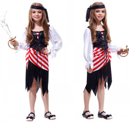 Wholesale Red Pirate Dress - M~XL!! New Fancy Pretty Pirate Captain Children Cosplay Halloween Girl Costumes for Kids Party Dresses Carnival Stage Costumes