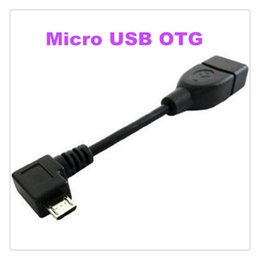 Wholesale Otg Angled Cables - Angled Micro USB OTG Host Cable Adapter For Samsung Galaxy S4 Note 2 8.0 S2 S3 Xoom i9100 MQ50