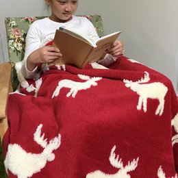 Wholesale Washing Chairs - 5 Style Christmas Deer Sofa Chair Bedroom Blankets Soft Berber Fleece Blanket For Bed Autumn Winter Flannel Baby Blanket Christmas Gift