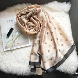 Wholesale Red Black Silk Scarf White - 2017 luxury brand summer new women fashion ladies scarf cashmere scarf shawl silk print soft long scarf woman