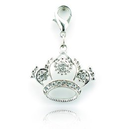 Wholesale Silver Crown Pendant Rhinestones - Brand New Fashion Lobster Clasp Charms White Rhinestone Crown Alloy Charms DIY Pendant Jewelry Accessories DZB9244