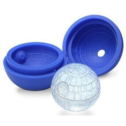 Wholesale Ball Maker Mould - Hot Creative Silicone Blue Wars Death Star Round Ball Ice Cube Mold Tray Desert Sphere Mould DIY Cocktail Forma De Gelo