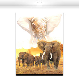 Wholesale Elephant Canvas Painting - African Giant wild Elephant Group Oil Paint Canvas Art House or Office Decorative Wall Art Painting