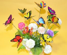 Wholesale Butterfly Plant Decorations - Free shipping 7cm PVC Home Decoration Butterfly Fake Flowers Decorative Flower Gardening Plunger