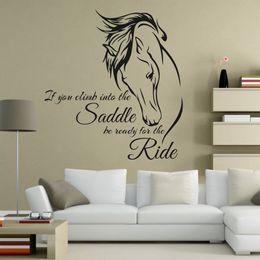 selles d'équitation Promotion Citation Sticker Citation Art Vinylique Si vous montez à cheval, soyez prêt pour la randonnée à cheval sticker mural