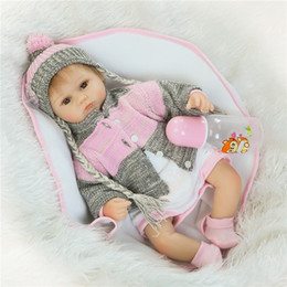 "Wholesale Realistic Soft Toys - Realistic bebe reborn 16""40cm lovely girl reborn babies silicone dolls children toy dolls gift bebe boneca de pano"