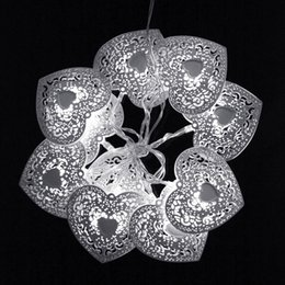Wholesale Indoor Wreaths - Wholesale- 10LED Christmas String Lights Festival Light Heart Wreath Party Wedding Indoor Outdoor Decoration White Color Fairy Lighting