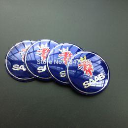 Wholesale Glue Aluminum - High quality 4pcs 56.5mm aluminum Blue SAAB sticker Emblem Badge Sticker glue sticker auto accessories decoration