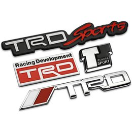 Wholesale Toyota Trd Stickers 3d - 3D Modified Car badge Sticker Styling TRD Grille Emblem car styling for toyota Racing Car Logo JDM Hood Badge Black Silver color