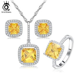 Wholesale Lemon Necklace - ORSA New 2017 Platinum Plated Zircon Bridal Wedding Jewelry Sets with Necklaces & Earring & Ring Jewelry Set For Women OS67