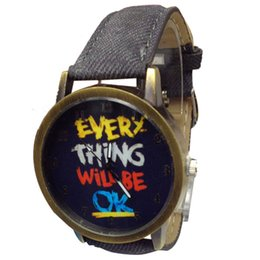 Wholesale Yellow Fabric Belt - 100 pcs NEW design male female unsex wrist watch top fahison jeans style letter print antique watch