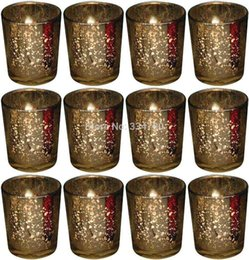 Wholesale Votive Candle Stands - 2.5 Inch Tall Mercury Wedding Glass Votive Holder.Gold,Set of 12.USD34.20  Each USD2.85