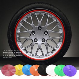 Wholesale Wholesale Hub Covers - New 8 Meter Roll Car Wheel Hub Tire Sticker Car Decorative Styling Strip Wheel Rim Tire Protection Care Covers Auto Accessories