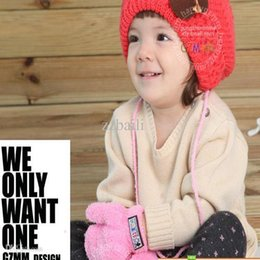 Wholesale Ladybug Gloves - Infant children gloves knitted half finger magic gloves wool cartoon ladybug gloves