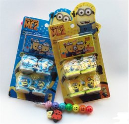 Wholesale Minion Items - hot item Despicable Me Minions minion Figures Seal Stamp & Ink Pad Kids Children gifts Prize award 3D cartoon Toy stamps 1 set= 4pcs