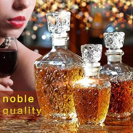 Wholesale Whiskey Crystal - 3pic set wine whiskey Liquor Wine Drinks Decanter Crystal Bottle Container Carafe Barware Bar Set Drinkware Gift free shopping