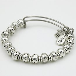 Wholesale Ladies Fashion Drop Shipping - Fashion Lady Women Alloy Beads Beaded Stainless Steel Expandable Wire Hand Charm Bangles Drop Shipping AAB065