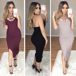 Wholesale Wholesale Cheap Bodycon Dresses - CHEAP WOMEN FASHION SEXY & CLUB HOLLOW OUT BACKLESS V-NECK PURE COLOR SPLIT SLIP DRESS PARTY DRESS