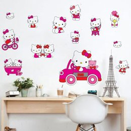 Wholesale Large Wall Decals Cheap - Free Shipping Cheap Kids Hello Kitty PVC Home stickers Wall Decal ,Wallpaper, Room Sticker, House Sticker LD673
