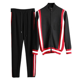 Wholesale Training Suits For Men - 2017 fall new men designer slim knitting tracksuit~fashion hit color tracksuits sportswear track suit~jogging sweat training suits for men