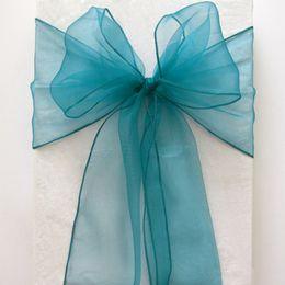 Wholesale Chair Sash Bows - 50pcs lot Teal Blue Organza Crystal Chair Sashes Sample Fabric Roll wedding Sash Bow Gift Party SASH