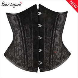 Wholesale Lace Underbust - Burvogue Waist Training Lady Corset and Bustier 26 Steel Bone Underbust Black Lace Up Shape Wear Slimming Body shaper For Women