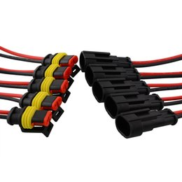 Wholesale Wire Connector Set - GPS Hot 5 set 2 Pin Car Auto Vehicle Waterproof Electrical Connector Adapter W Wire AWG Black High quality